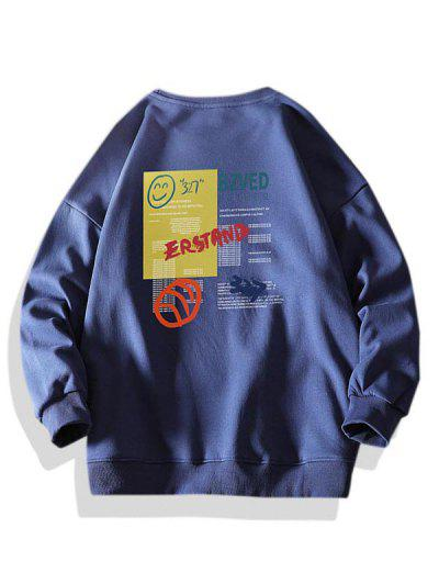 편지 웃는 얼굴 그래픽 크루 넥 스웨터 - 진한 파랑 특대