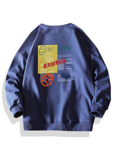 Letter Smiling Face Graphic Crew Neck Sweatshirt - Deep Blue Xl