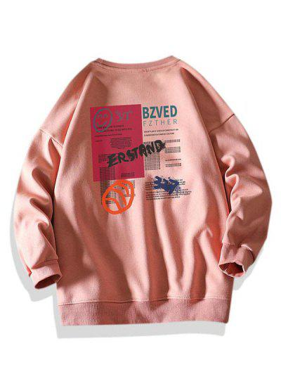 Letter Smiling Face Graphic Crew Neck Sweatshirt - Pink 2xl