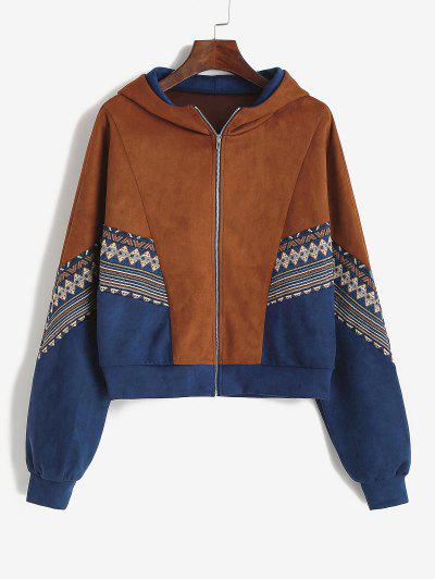 ZAFUL Tribal Patchwork Faux Suede Hooded Jacket - Sepia S