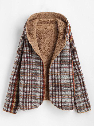 Hooded Reversible Open Front Fluffy Teddy Coat - Multi S
