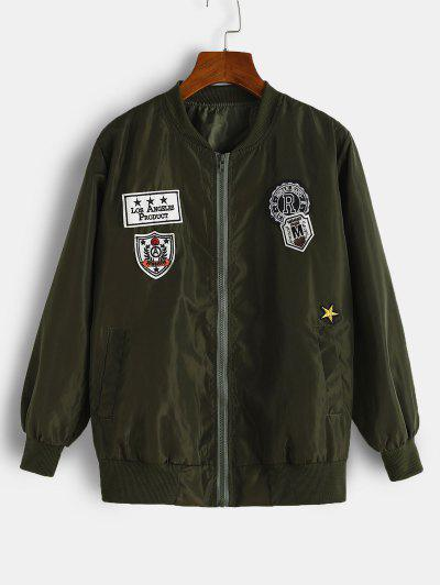 Graphic Embroidered Applique Detail Jacket - Deep Green L