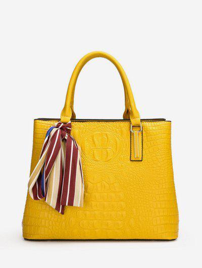Embossed Printed Scarf Square Handbag - Yellow