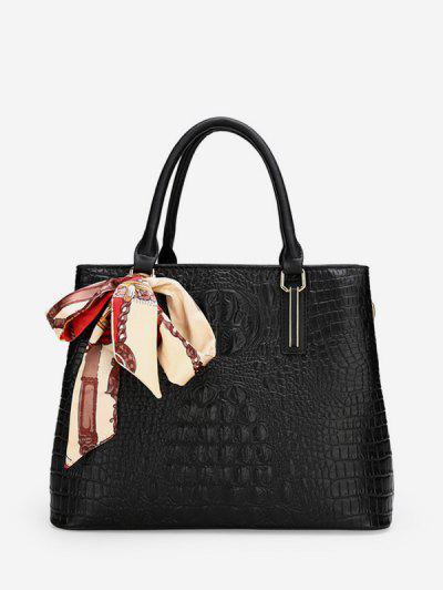 Embossed Printed Scarf Square Handbag - Black