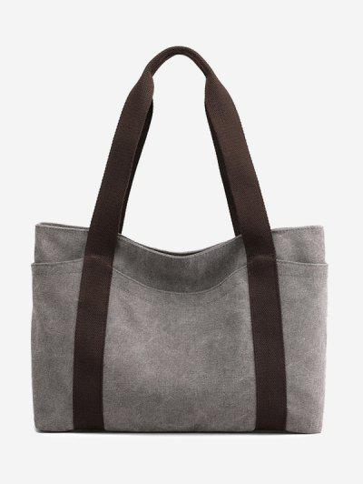 Colorblock Leisure Canvas Tote Bag - Dark Gray