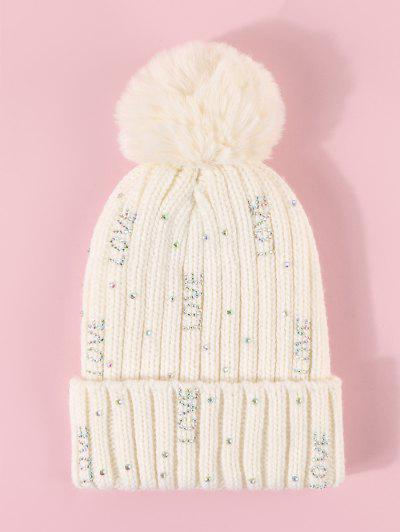 Rhinestone Letter Knitted Bubble Hat - Milk White