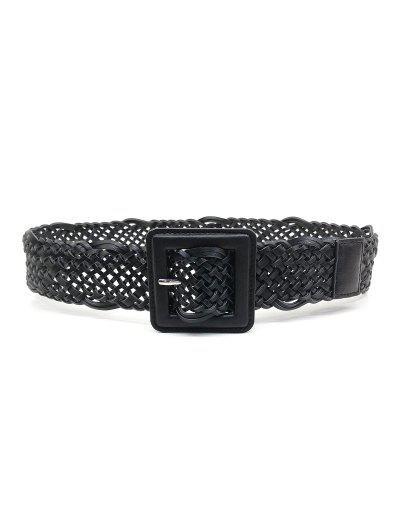 Braided Square Pin Buckle Belt - Black