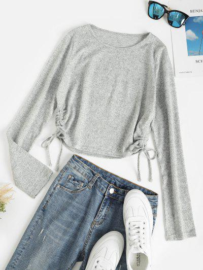 Heather Knitted Cinched Crop Top - Light Gray L