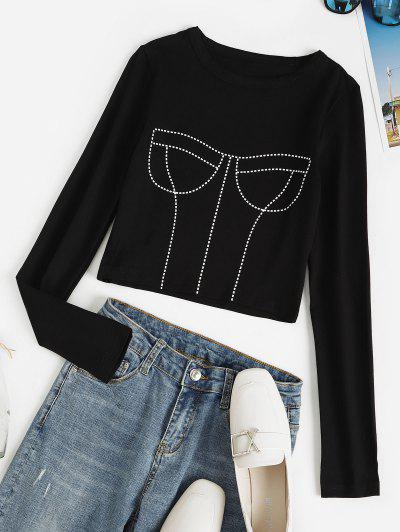 Cropped 3D Print Bustier Baby Tee - Black M