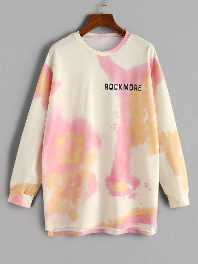 Tie Dye Rockmore Print Sweatshirt - Light Yellow L