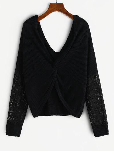 Twisted Lace Insert Drop Shoulder Knitwear - Black S