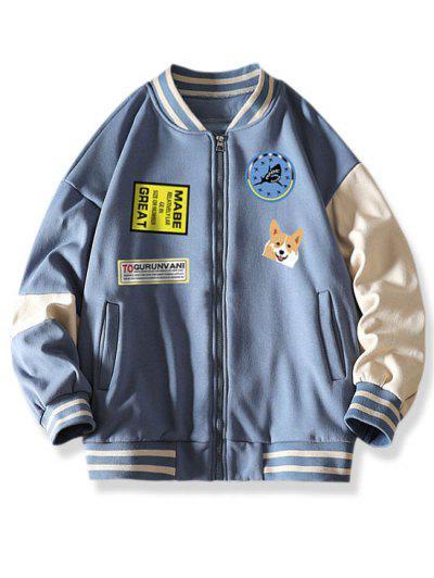 Colorblock Dog Letter Print Baseball Jacket - Denim Blue 2xl
