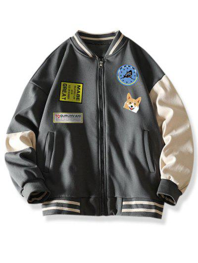 Colorblock Dog Letter Print Baseball Jacket - Dark Gray M