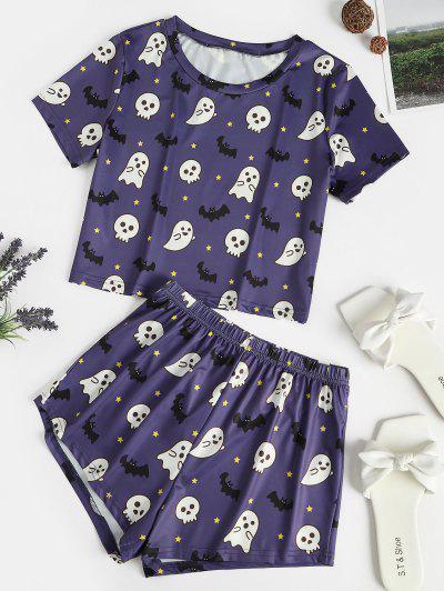 Halloween Ghost Star Bat Print Pajama Shorts Set - Deep Blue L