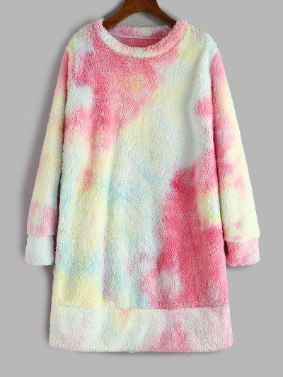 Tie Dye Pattern Fluffy Sweatshirt Dress - Pink Xl