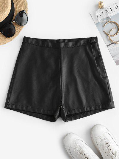 Faux Leather High Waisted Hot Shorts - Black L