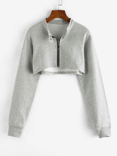 Cropped Zip Up Sweatshirt - Light Gray M