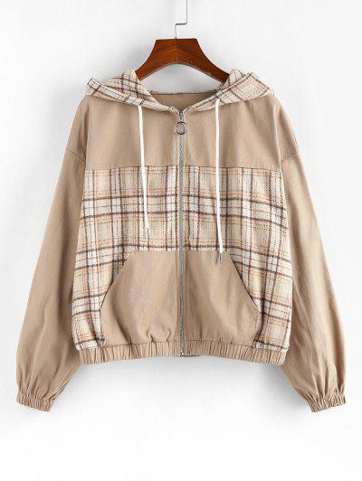 ZAFUL Plaid Drop Shoulder Hooded Pocket Jacket - Light Khaki S
