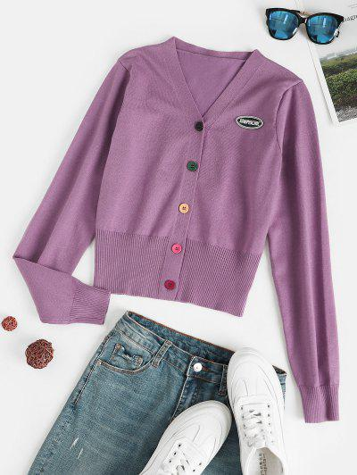 Drop Shoulder Cardigan With Patched - Purple