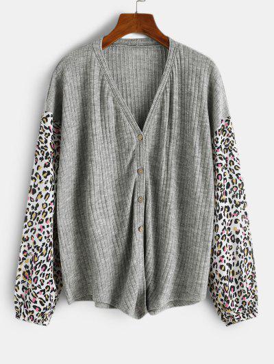 Leopard Insert Drop Shoulder Button Up Top - Light Gray S