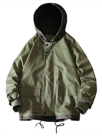 Colorblock Flap Pocket Raglan Sleeve Hooded Jacket - Army Green L