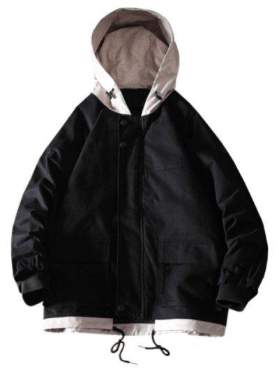Colorblock Flap Pocket Raglan Sleeve Hooded Jacket - Black 2xl