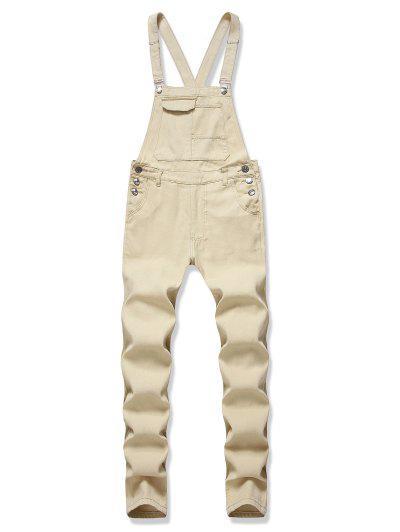 Multi-pocket Button Denim Overalls - Tan Brown 3xl