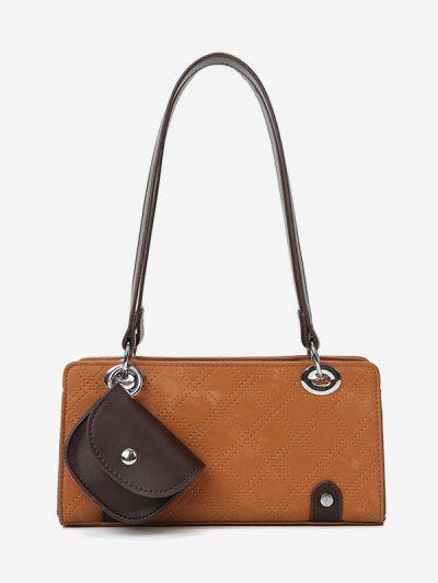Stitching Coin Bag Pendant Shoulder Bag - Brown