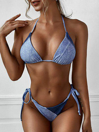 ZAFUL Denim Color String Tanga Bikini Swimwear - Light Blue S