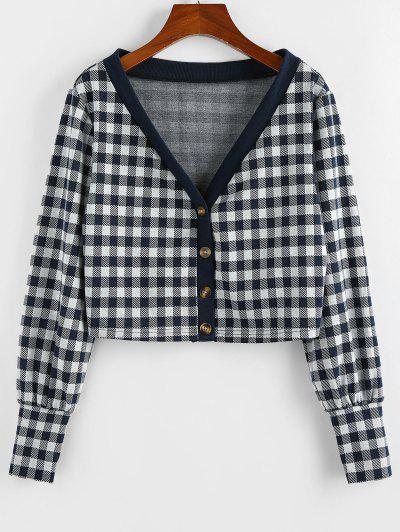 ZAFUL Plaid Plunge Long Cuff Knit Cardigan - Dark Slate Blue M
