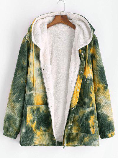Hooded Tie Dye Corduroy Fleece Jacket - Deep Green S