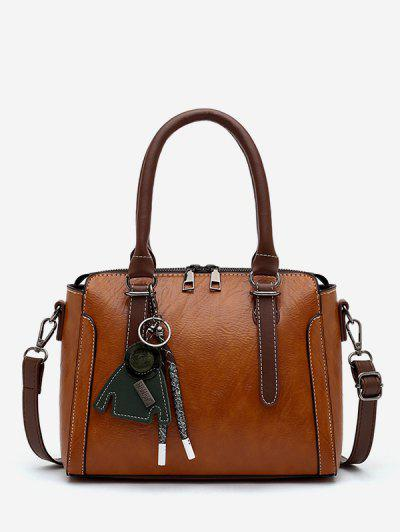 Retro Pendant Rectangle Handbag - Brown