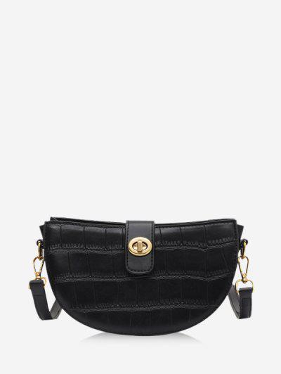 Semicircle Textured Crossbody Bag - Black