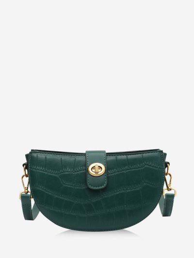 Semicircle Textured Crossbody Bag - Deep Green