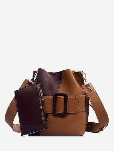 Colorblock Pendant Crossbody Bucket Bag - Coffee