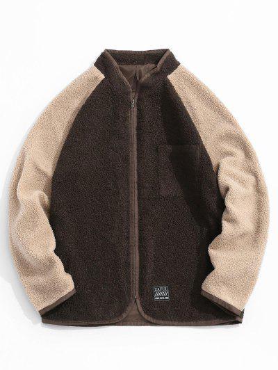 Colorblock Raglan Sleeve Teddy Jacket - Deep Coffee M