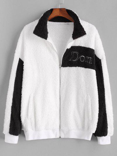 Don't Embroidery Two Tone Fluffy Jacket - White S