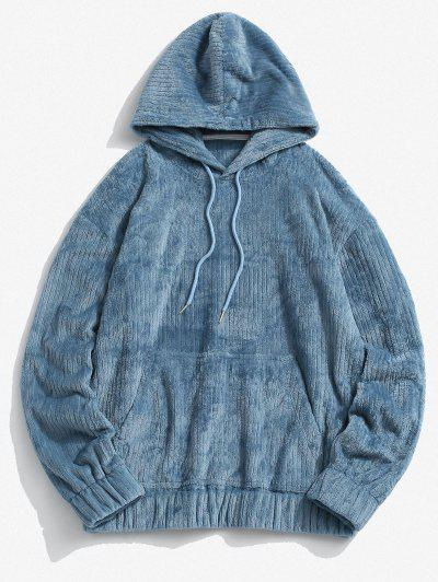 Front Pocket Letter Patch Plush Hoodie - Blue L