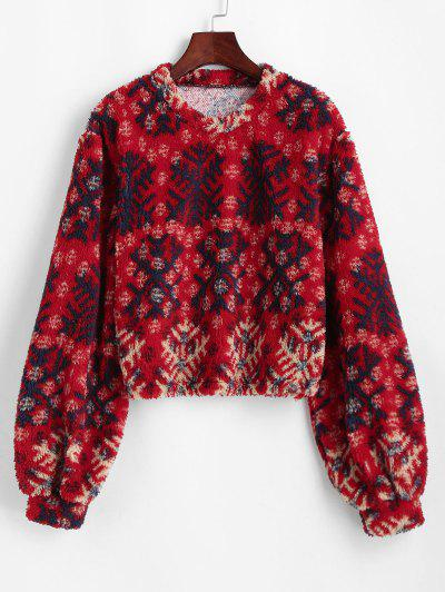 Christmas Snowflake Lantern Sleeve Plush Sweatshirt - Red L
