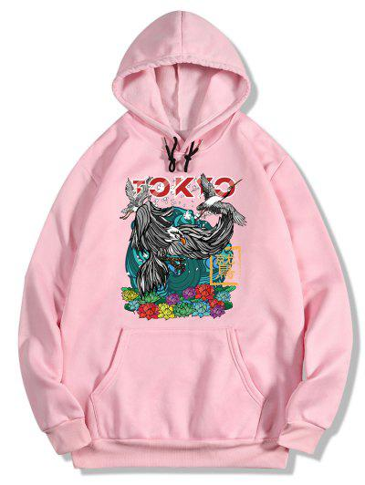 Flowers And Birds Print Oriental Fleece Hoodie - Pig Pink Xl