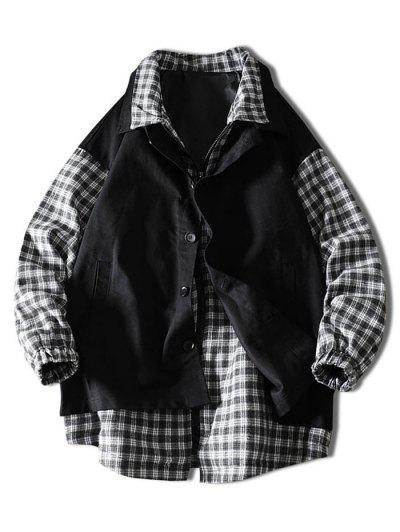 Plaid Faux Twinset Jacket - Black L