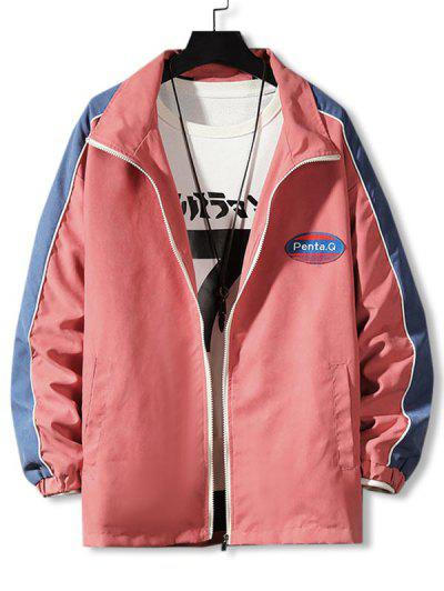 Letter Patch Colorblock Panel Jacket - Rose Red M