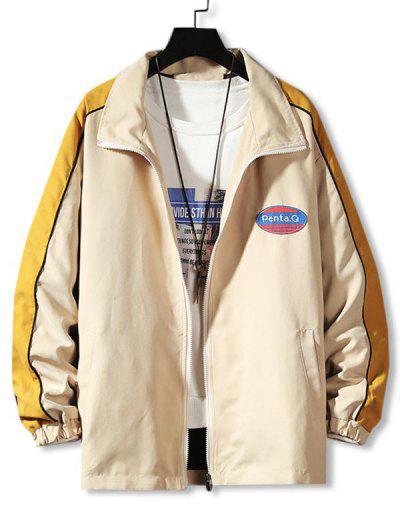 Letter Patch Colorblock Panel Jacket - Khaki L