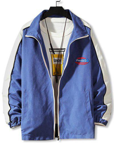 Letter Patch Colorblock Panel Jacket - Denim Blue L