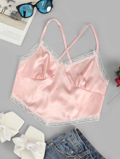 Lace Up Criss Cross Lace Trim Satin Crop Top - Pink S