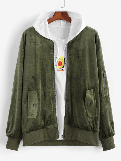 Zip Up Solid Velvet Jacket - Deep Green M