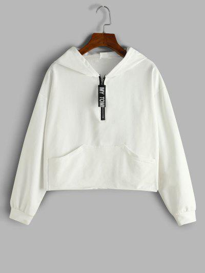 Letter Tape Half Zip Drop Shoulder Hoodie - White S