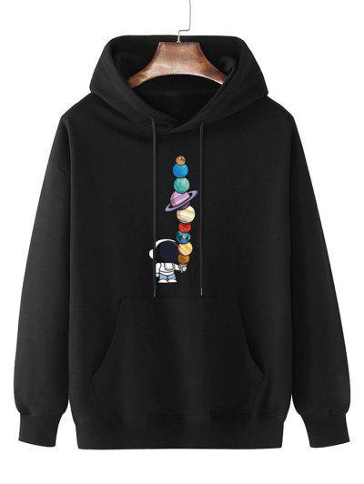 Fleece Lined Planet Astronaut Print Hoodie - Black S