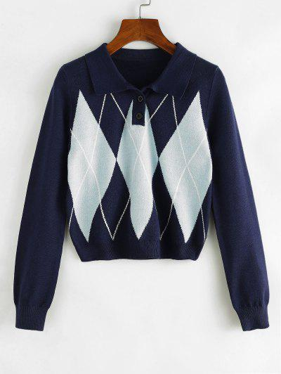 Pull Court Losange - Cadetblue M