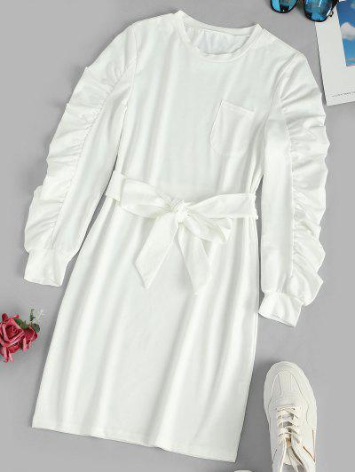 Ruched Long Sleeves Mini Belt Dress With Pocket - White Xl